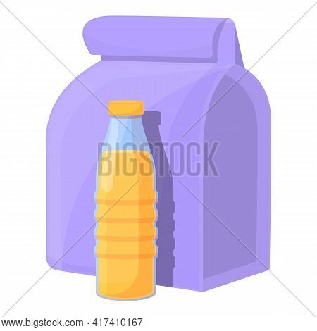 School Breakfast Juice Bottle Icon. Cartoon Of School Breakfast Juice Bottle Vector Icon For Web Des