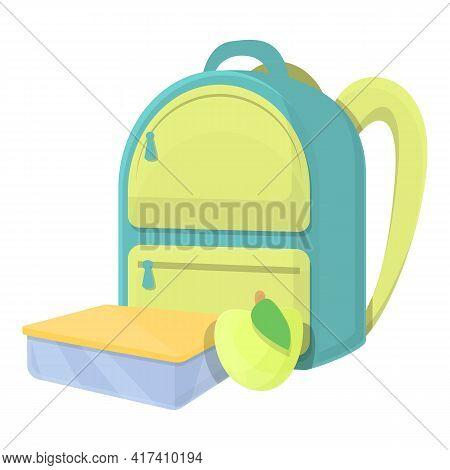 School Breakfast Green Apple Icon. Cartoon Of School Breakfast Green Apple Vector Icon For Web Desig