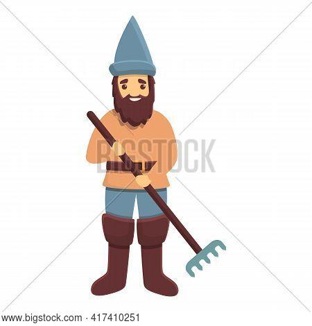 Garden Gnome With Rake Icon. Cartoon Of Garden Gnome With Rake Vector Icon For Web Design Isolated O