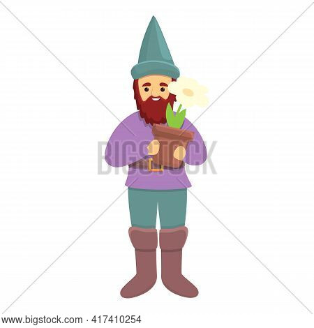 Garden Gnome With Flower Pot Icon. Cartoon Of Garden Gnome With Flower Pot Vector Icon For Web Desig