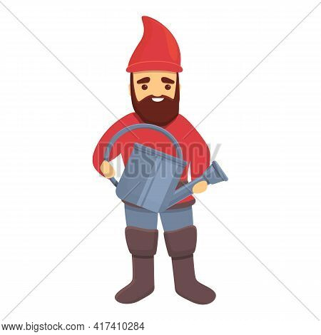 Garden Gnome With Watering Can Icon. Cartoon Of Garden Gnome With Watering Can Vector Icon For Web D