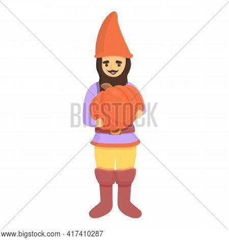 Garden Gnome With Pumpkin Icon. Cartoon Of Garden Gnome With Pumpkin Vector Icon For Web Design Isol