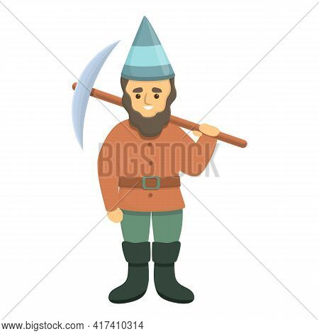 Garden Gnome With Pick Axe Icon. Cartoon Of Garden Gnome With Pick Axe Vector Icon For Web Design Is