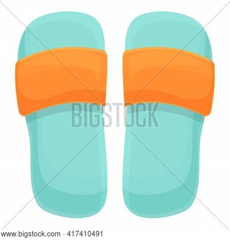 Water Park Slippers Icon. Cartoon Of Water Park Slippers Vector Icon For Web Design Isolated On Whit