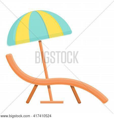 Water Park Chair Umbrella Icon. Cartoon Of Water Park Chair Umbrella Vector Icon For Web Design Isol