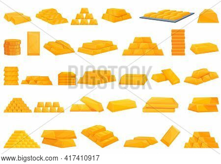 Bank Reserves Icons Set. Cartoon Set Of Bank Reserves Vector Icons For Web Design