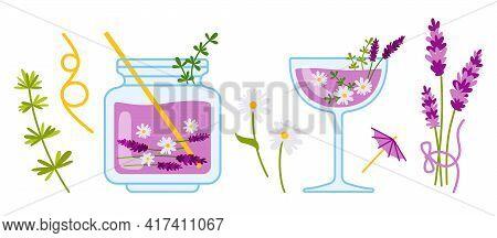 Lavender Cocktail Cartoon Cozy Set, Chamomile, Jar Glass. Drink In Transparent Bottle With Ingredien