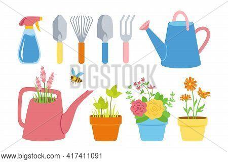 Gardening Tools And Flowers In Pot Flat Cartoon Set. Houseplants Roses And Lavender, Shovel, Rake, S