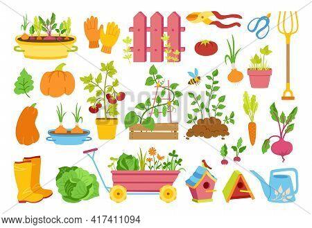 Garden Flat Cartoon Set. Vegetables Growing Soil In Pot, Rustic Fence. Rubber Boots, Pitchfork And G
