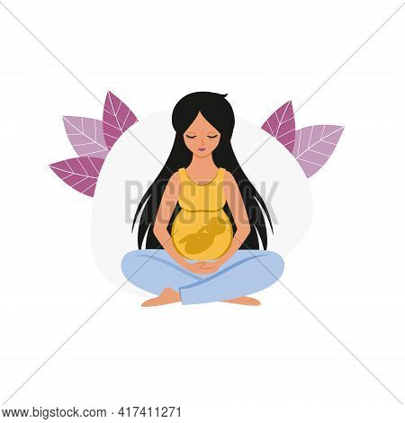 A Pregnant Woman Sits In The Lotus Position And Relaxes. The Baby Is An Embryo In The Stomach. Mothe