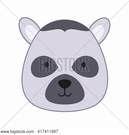 Funny Lemur In The Style Of Doodle. Vector Icon With The Face Of A Lemur.