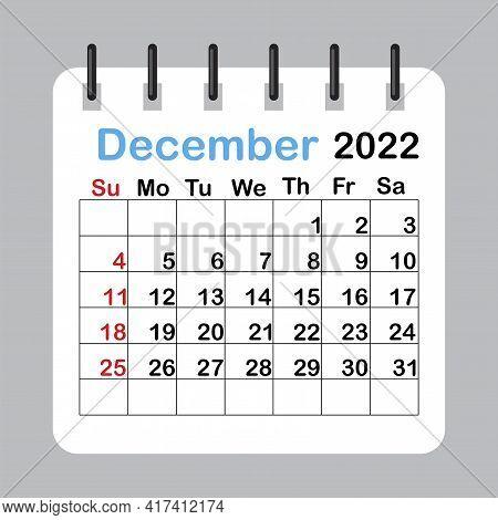 December 2022 Calendar Sheet In Abstract Style. Template Calendar 2022. Vector Illustration. Eps 10.