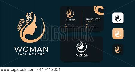 Woman Beauty Logo Design With Business Card Template. Suit For Spa, Yoga, Health, Wellness, Brand, I