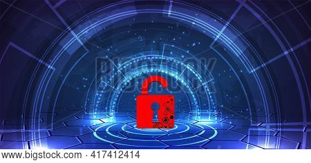 Cyber Security Attack Technology Concept.padlock Red Open On  Dark Blue Background.cyber Attack And