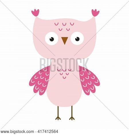 Cute Pink Owl For Girls. Cartoon Owl Style Doodle. Hand-drawn Drawing.