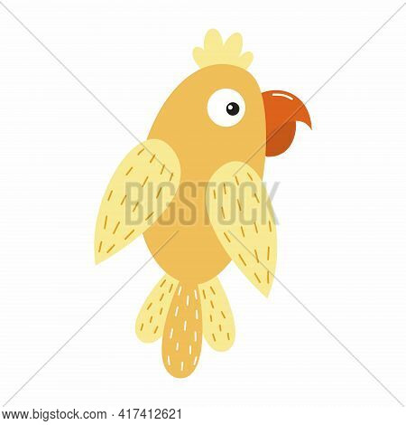 Yellow Parrot With Big Eyes. Doodle-style Parrot For Kids