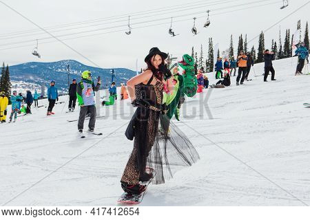 Sheregesh, Kemerovo Region, Russia - April 03, 2021: Grelka Fest In Sheregesh. People In Carnival Co