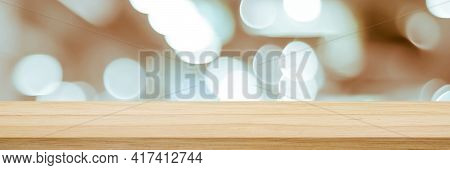 Table And Blur Background, Wooden Counter Over Blur Bokeh Light Background, Brown Wood Table Top, Sh