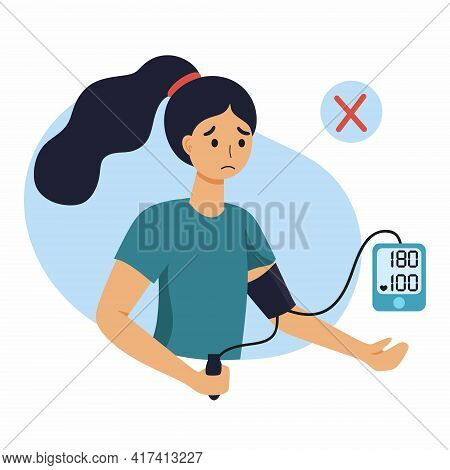 A Woman With High Blood Pressure. The Girl Measures The Pressure With A Tonometer.