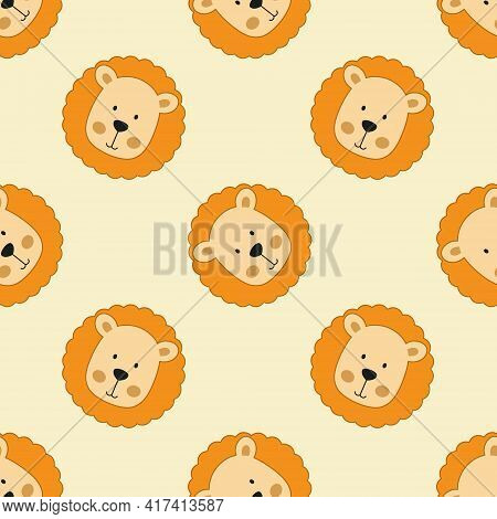 Endless Background With Lions For Kids. Seamless Pattern For Printing On Fabric, Packaging Paper And