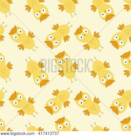 Seamless Background With Yellow Owls For Printing On Baby Fabric. Wallpaper With An Owl For Sewing C