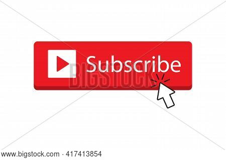 Subscribe Button Red Color With Arrow Cursor For Graphic Design, Logo, Web Site, Social Media, Mobil