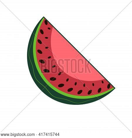 Slice Of Watermelon In Vector. Healthy Food. Sweet Watermelon. Tropical Fruits. White Background.