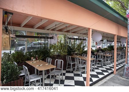 New York City - April 18 2021: An Empty Outdoor Restaurant During Covid Outbreak. Restaurants Starte