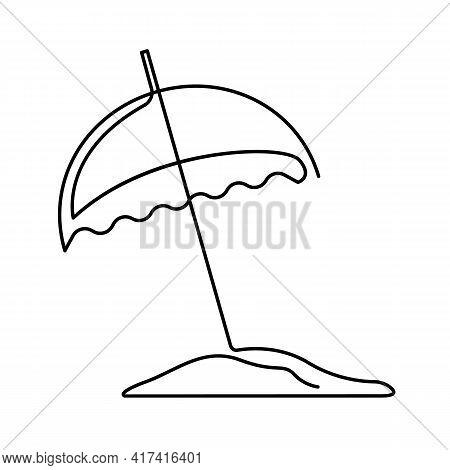 Continuous Single Drawn One Line Umbrella For Beach Hand-drawn Picture Silhouette. Line Art. Sun Pro