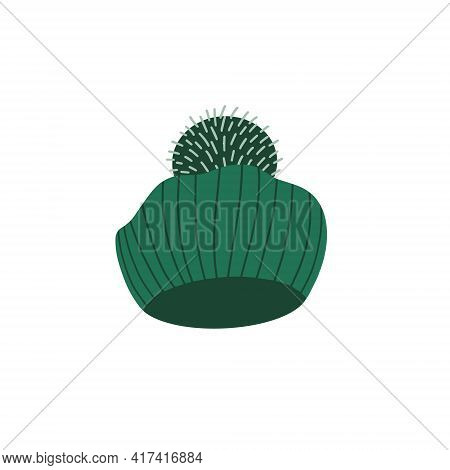 Knitted Beret With A Pom Pom. Hand-drawn Vector Illustration In A Flat Cartoon Style. Winter And Aut