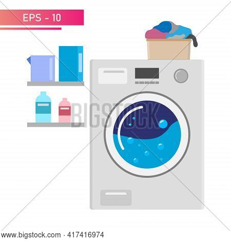 Laundry Machine, Small Laundry Basket. There Are Laundry Items On The Shelves. Realistic Design. On