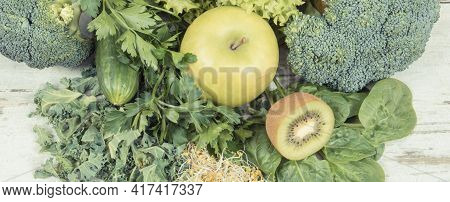 Fresh Ripe Natural Fruits, Vegetables And Sprouts. Nutritious Ingredients Containing Healthy Mineral
