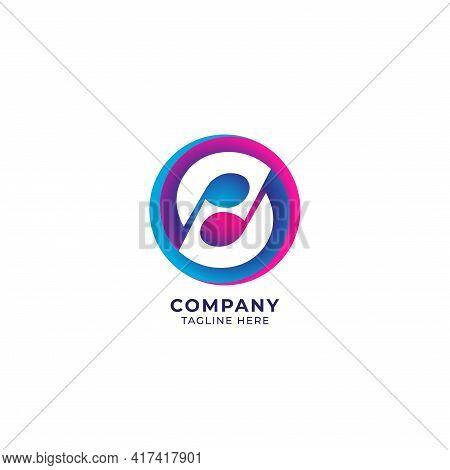 Colorful Circular Musical Note Logo Design Template. Yinyang Logo Concept. Pink Magenta Blue Purple
