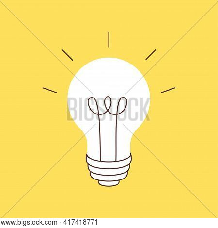 Light Bulb. Isolated On Yellow Background. New, Creative Or Innovation Idea. Vector Flat Illustratio