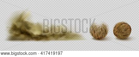 Tumbleweeds And Sandstorm Cloud, Desert Plants And Sand Dust. Dry Bush Or Twigs In Shape Of Balls, A