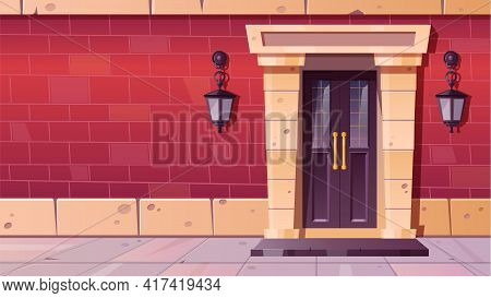 Front Door With Stone Frame In Old Building Facade From Red Brick. Vector Cartoon Illustration Of Vi