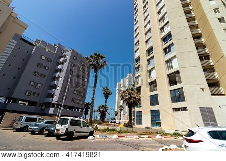 15-04-2021. Bat Yam-israel. Buildings On The Main Street, Next To The Beach In Bat Yam