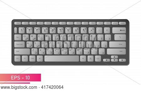Arabic English Keyboard In Black Color With Gray Keys. Realistic Design. On A White Background. Devi