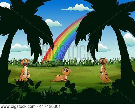 Cartoon Thee Of Meerkats In The Green Field