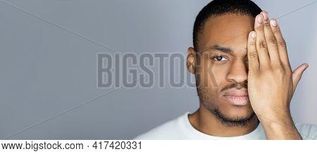 African Man. Black Lives Matter. Ethnic Tolerance. Portrait Of Tired Serious Concerned Dark Skin Guy