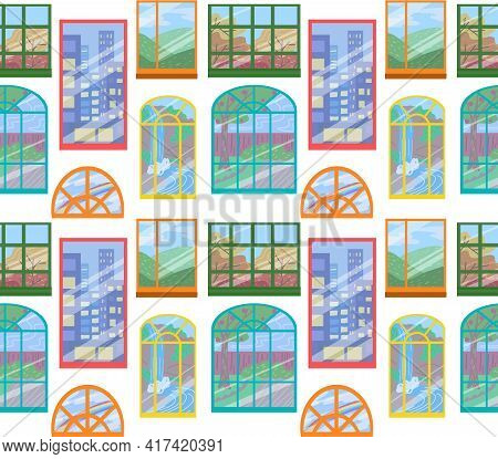 Seamless Childrens Bright Texture Of Various Windows On White Background. Wallpaper With Facade With
