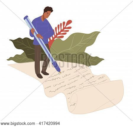 Copywriter Writing Article Or Text On Paper Vector
