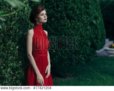 Pretty Woman Outdoors Red Dress Luxury Green Bush Walk Masquerade