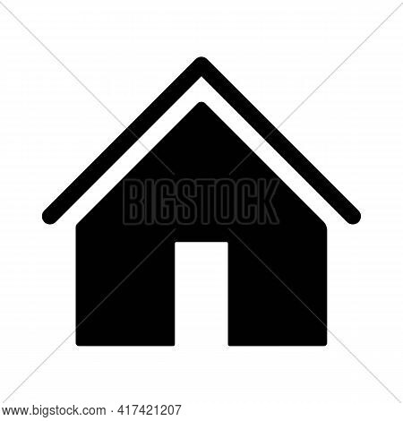 Home Or House Page Thin Line Icon In Solid Black. Return To Home Page. Trendy Flat Isolated Symbol,