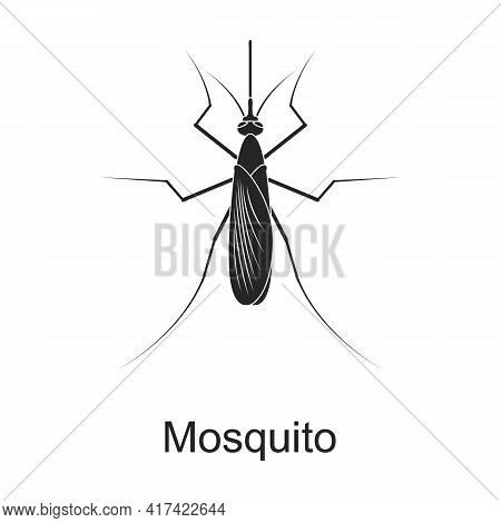 Mosquito Vector Black Icon. Vector Illustration Pest Insect Mosquito On White Background. Isolated B