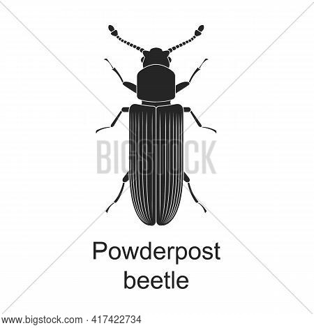 Powderpost Beetle Vector Black Icon. Vector Illustration Pest Insect Powderpost Beetle On White Back