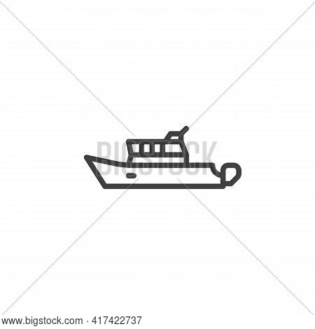 Ship Boat Line Icon. Linear Style Sign For Mobile Concept And Web Design. Yacht Boat Outline Vector