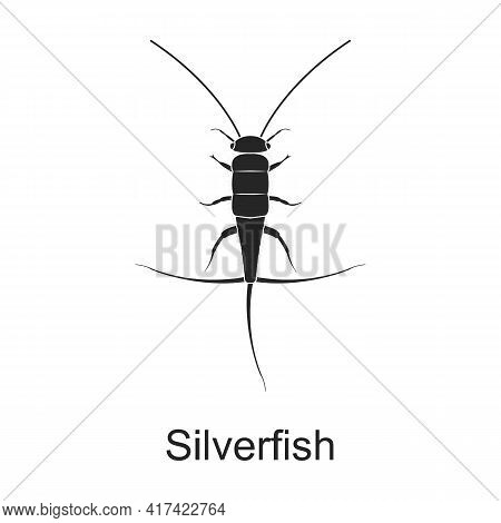 Silverfish Vector Black Icon. Vector Illustration Pest Insect Silverfish On White Background. Isolat