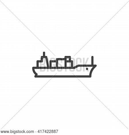 Cargo Ship Line Icon. Linear Style Sign For Mobile Concept And Web Design. Container Cargo Ship Outl