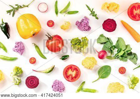 Fresh Vegetable Flat Lay Background. Many Raw Vegetables